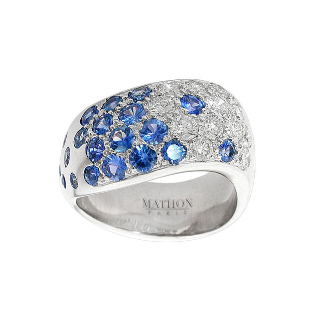 Meandre White Gold, Diamond and Blue Sapphire Ring