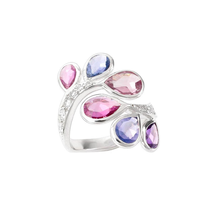 FOUGERE, WHITE GOLD, DIAMOND, ROSE CUT PEAR SAPPHIRES RING