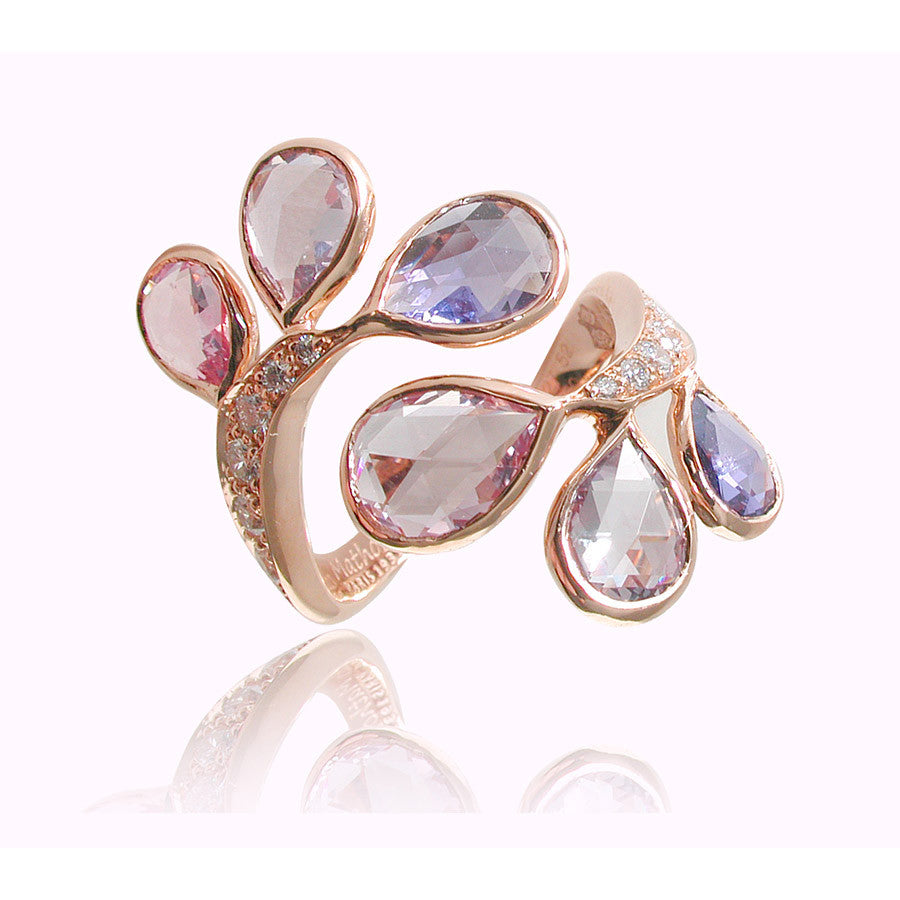 Fougere Red Gold, Diamond, Pink and Purple Rosecut Sapphire Ring