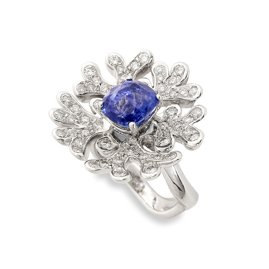Gorgone White Gold, Diamond and Sapphire Ring