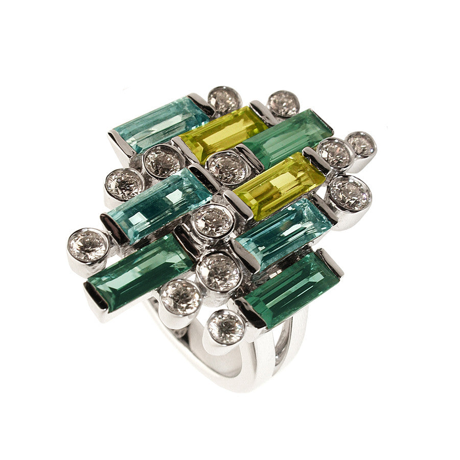 Manhattan GM White Gold, Diamond, Green Tourmaline, Peridot, Aquamarine Baguette Ring
