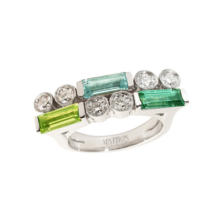 Manhattan PM White Gold, Diamond, Green Tourmaline, Peridot and Aquamarine Baguette Ring