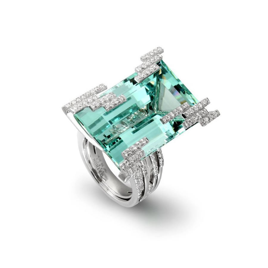 ICEBERG RING WHITE GOLD DIAMOND GREEN BERYL, MANHATTAN COLLECTION