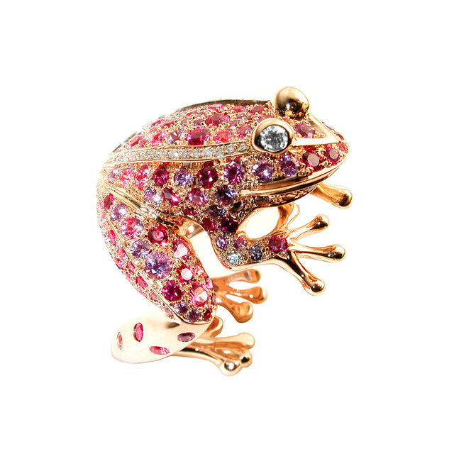 Grenouille Red Gold, Diamond, Pink and Purple Sapphire and Ruby Ring