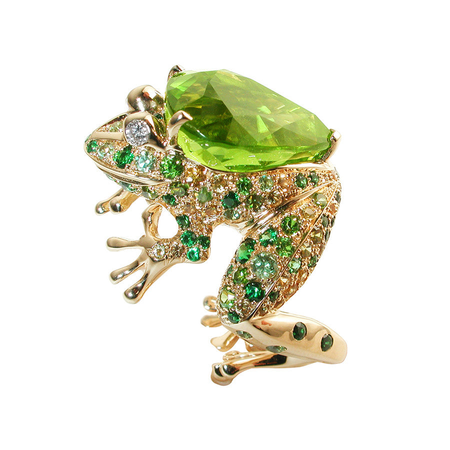 'GRENOUILLE' YELLOW GOLD PERIDOT RING, LUCKY ANIMALS COLLECTION