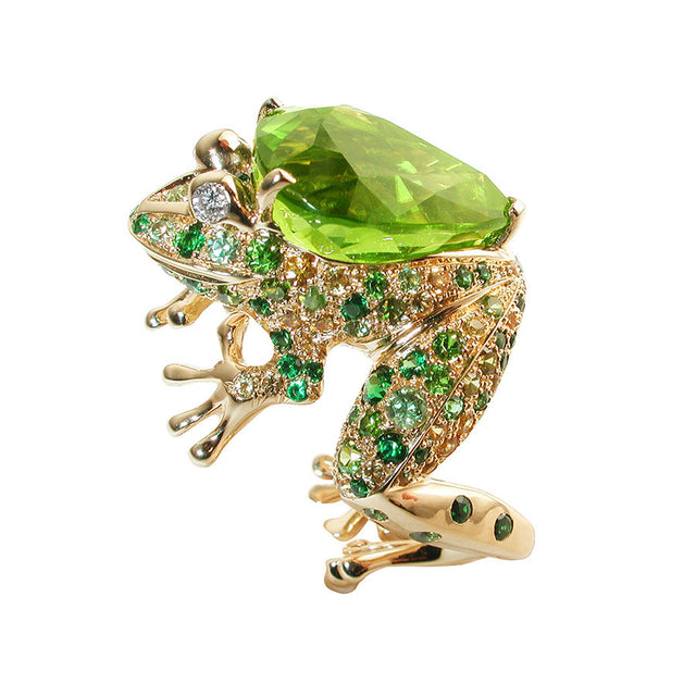 Grenouille Yellow Gold, Diamond, Yellow Sapphire, Demantoide, Tsavorite Garnet, Peridot Ring