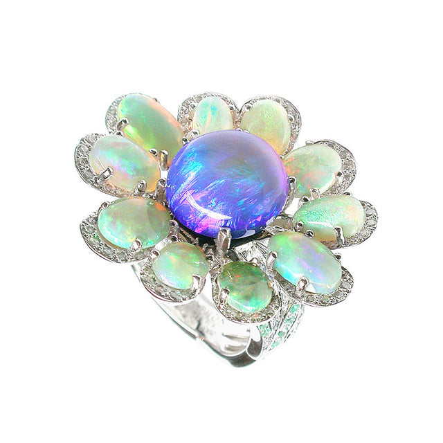 Marguerite Bleue White Gold, Diamond, Paraiba, Tourmaline, Sapphire, Crystal and Opal Ring