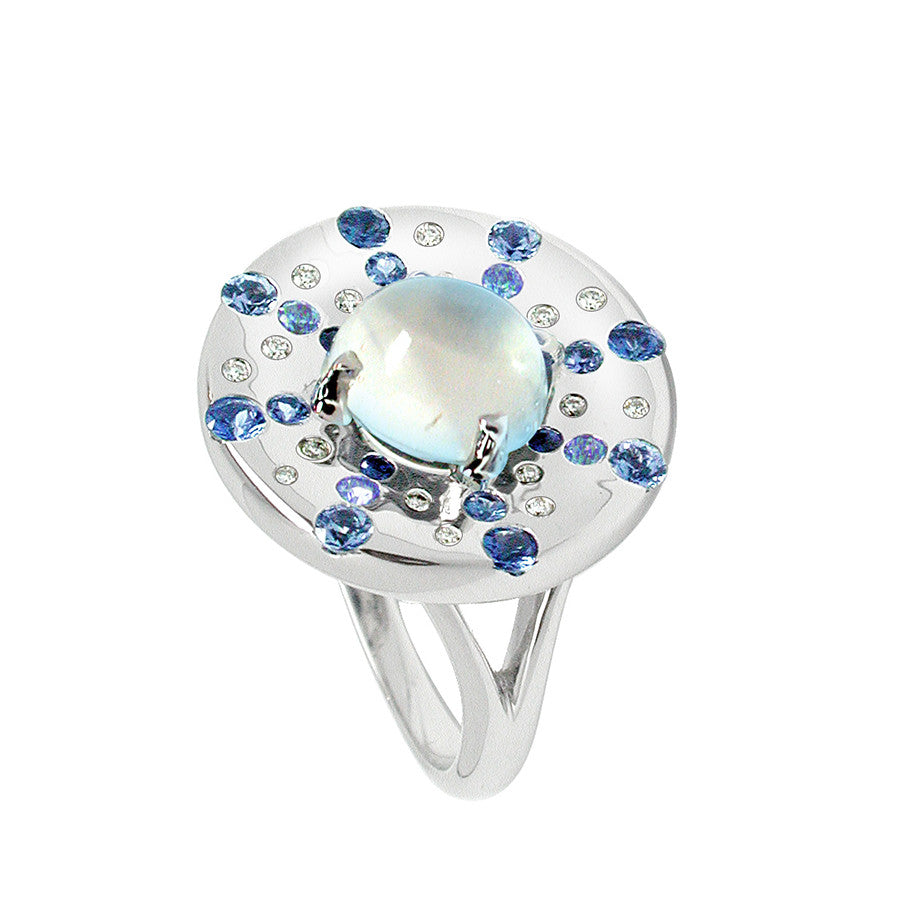 Odyssee PM White Gold, Diamond, Sapphire and Moonstone Cabochon Ring