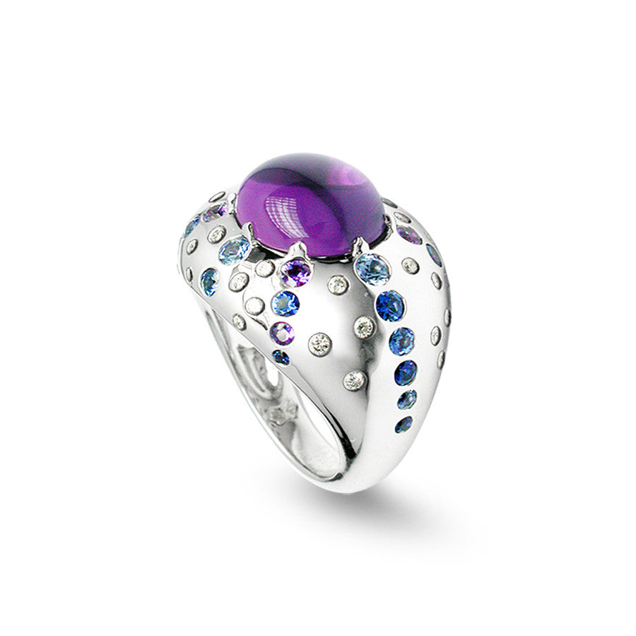 Circe White Gold, Diamond, Sapphire and Amethyst Cabochon Ring