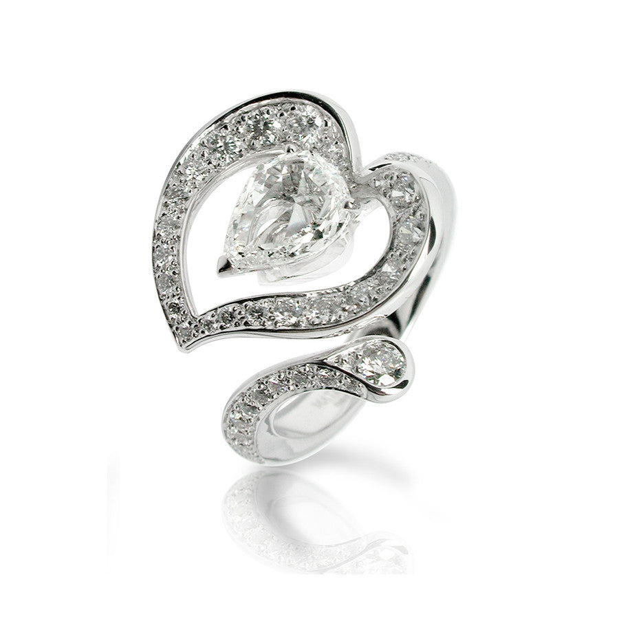 Arome White Gold, Diamonds and Rosecut Pearshape Diamond Ring