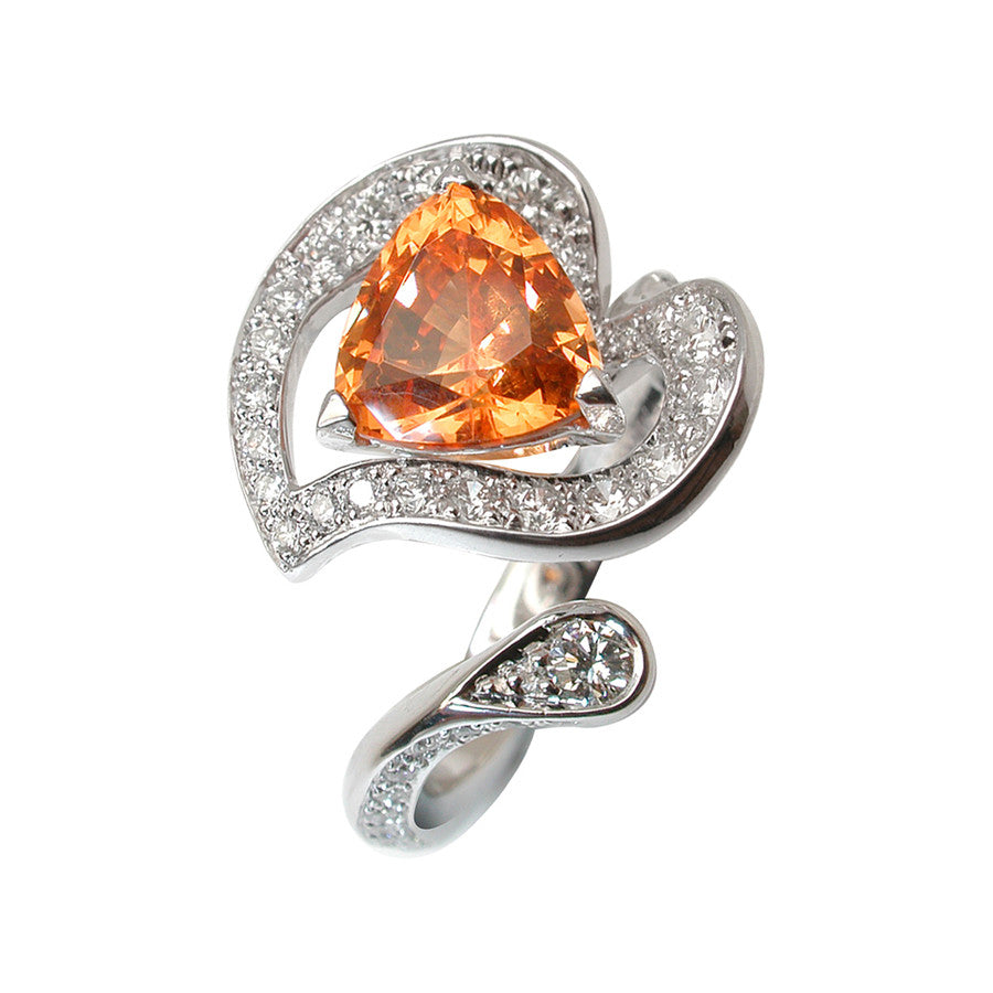 Arome White Gold, Diamond and Spessartite Garnet Ring