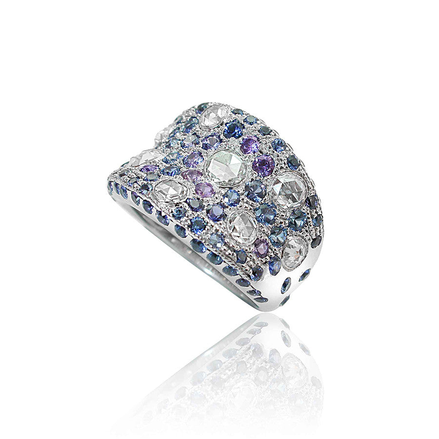 Nympheas White Gold, Diamond, Blue and Purple Sapphire Ring
