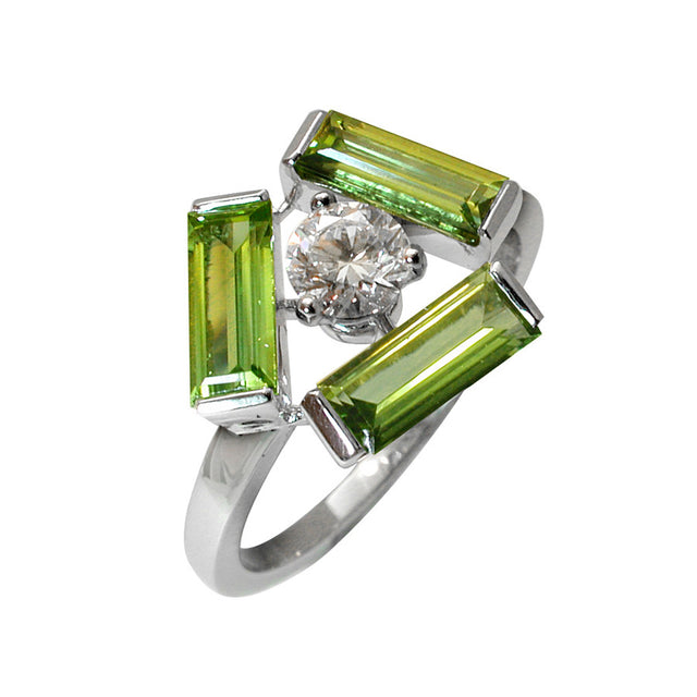 Tribeca White Gold, Diamond and Peridot Baguette Ring