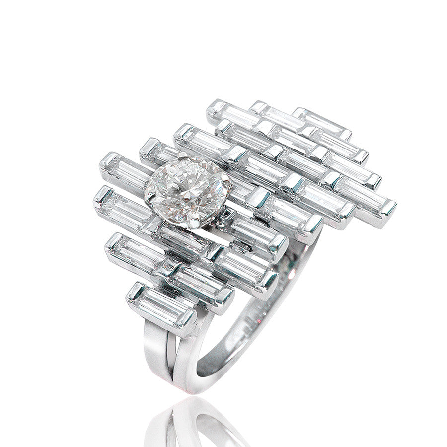 Brooklin White Gold Ring featuring Baguette Diamonds and 1 Center Round Diamond