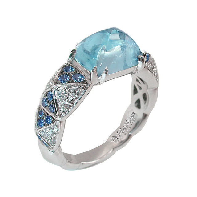 Arlequin Yellow Gold, Diamond and Aquamarine Ring