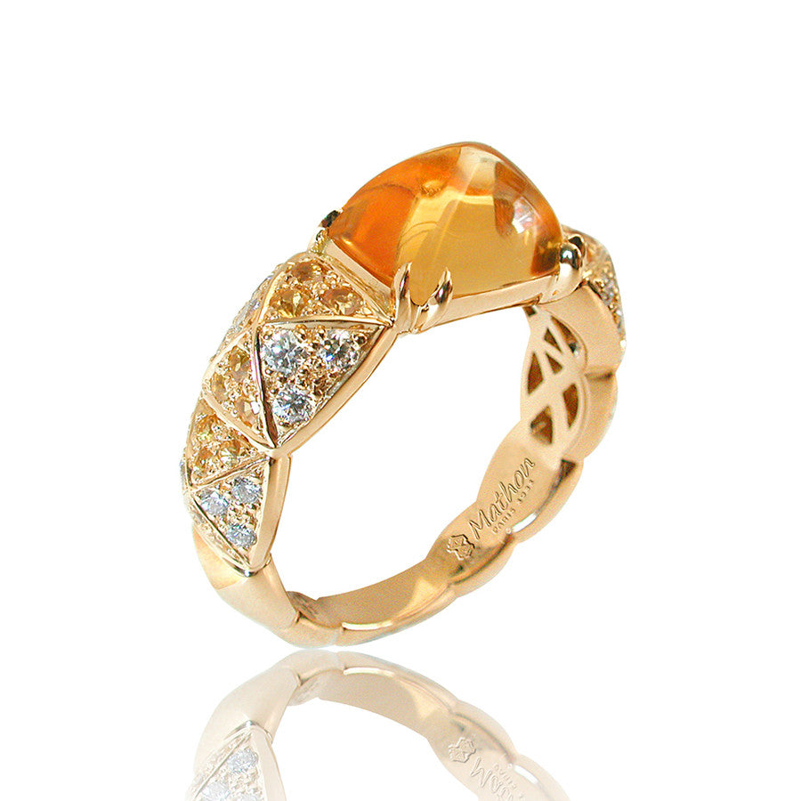 Arlequin Yellow Gold, Diamond, Citrine and Yellow Sapphire Ring