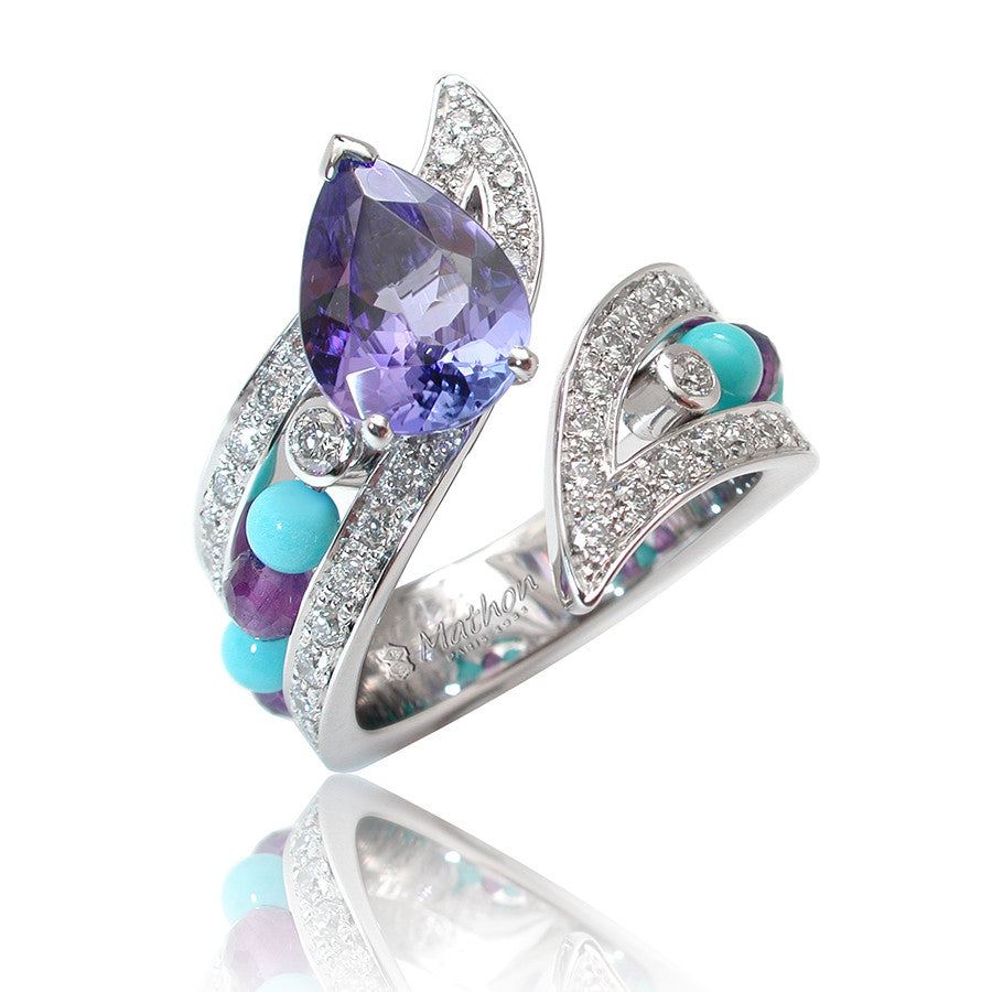 Ibis White Gold, Diamond, Tanzanite, Turquoise, Topaz and Amethyst Ring