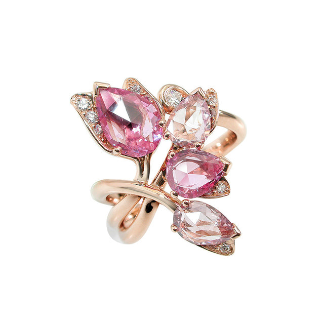 Glycine Red Gold, Diamond and Pink Rosecut Sapphire Ring