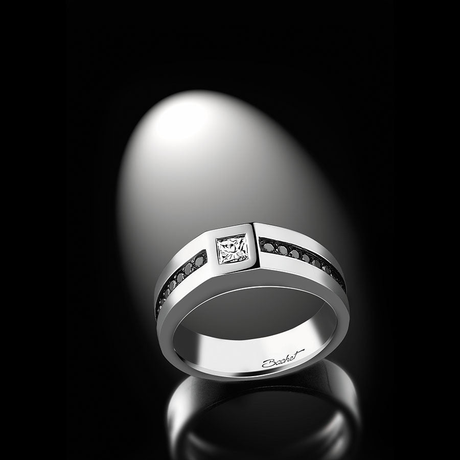 Men's Collection Unik Man Signet Ring 'Master', White Gold