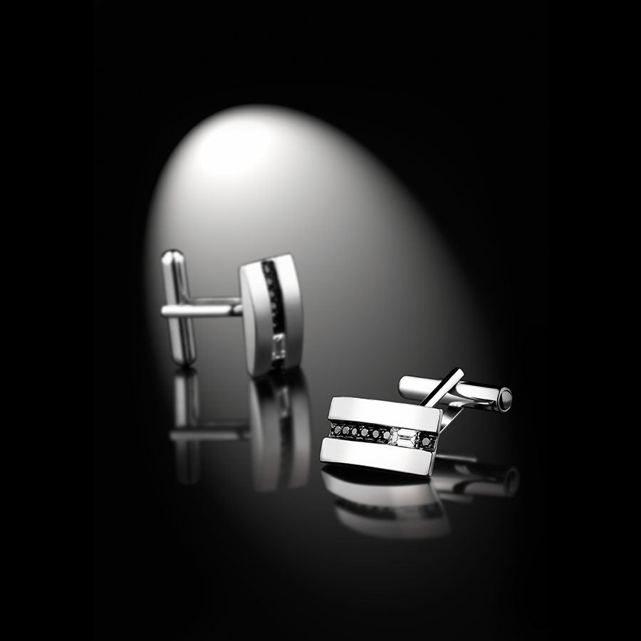 Men's Collection Unik Man CuffLinks 'Gentlemen' White Gold - GERARDRIVERON