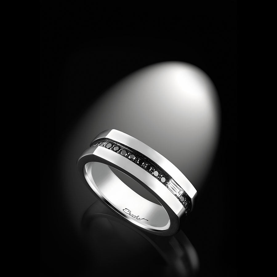 Men's Collection Unik Man Signet Ring 'Gentlemen', White Gold