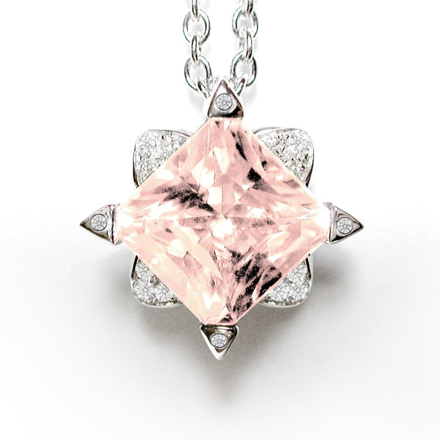 LOTUS NECKLACE/PENDANT WHITE GOLD DIAMOND AND MORGANITE, ANTHOLOGY FLORILÈGE COLLECTION - GERARDRIVERON