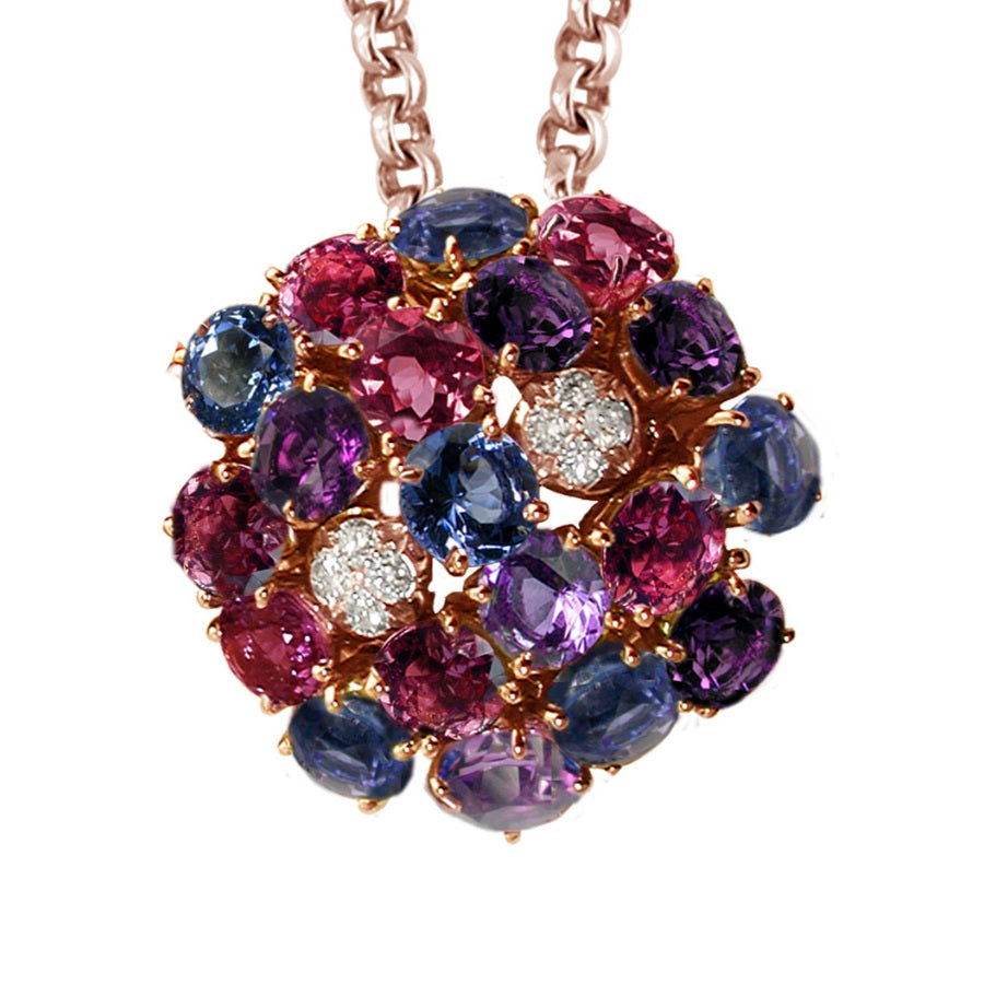 LILAS NECKLACE-PENDANT AMETHYST IOLITE RHODOLITE DIAMOND, ANTHOLOGY FLORILÈGE COLLECTION - GERARDRIVERON