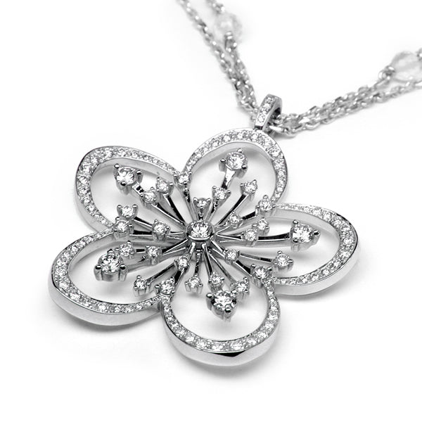 CHERRY BLOSSOM NECKLACE WHITE GOLD DIAMONDS, FLORILÈGE COLLECTION #ALACARTEBRIDAL - GERARDRIVERON
