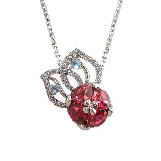 NÉNUPHAR NECKLACE-PENDANT PINK TOURMALINES,  ANTHOLOGY FLORILÈGE COLLECTION