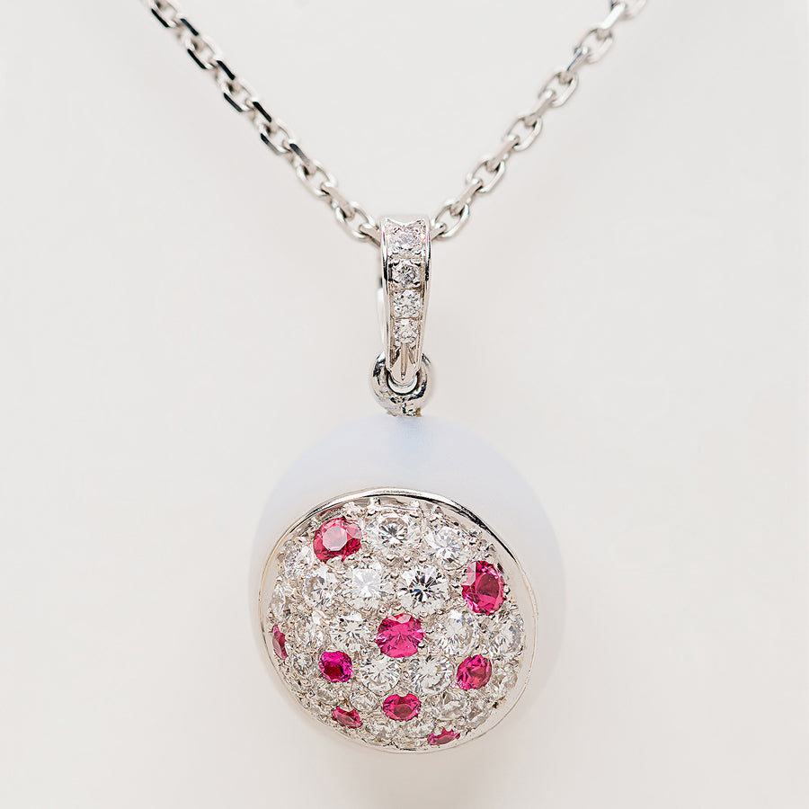 Galet Collection White Agate, Pink Spinel & Diamond Pendant