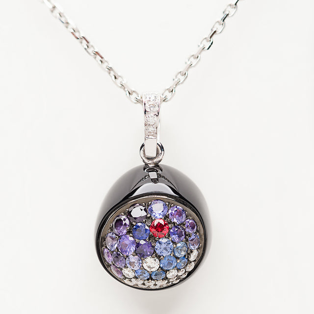 Galet Collection Onyx & Fancy Sapphire Pendant