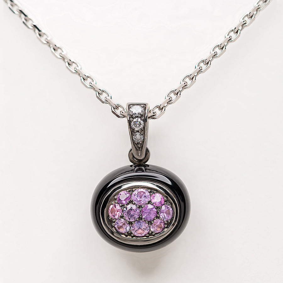 Mini Galet Collection Onyx, Purple Sapphires & Diamond Pendant - GERARDRIVERON