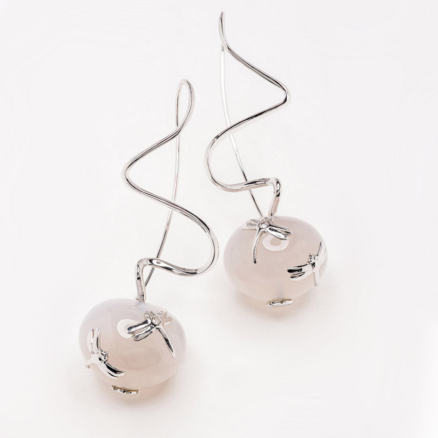 Zig Zag Collection White Gold and Agate Earrings