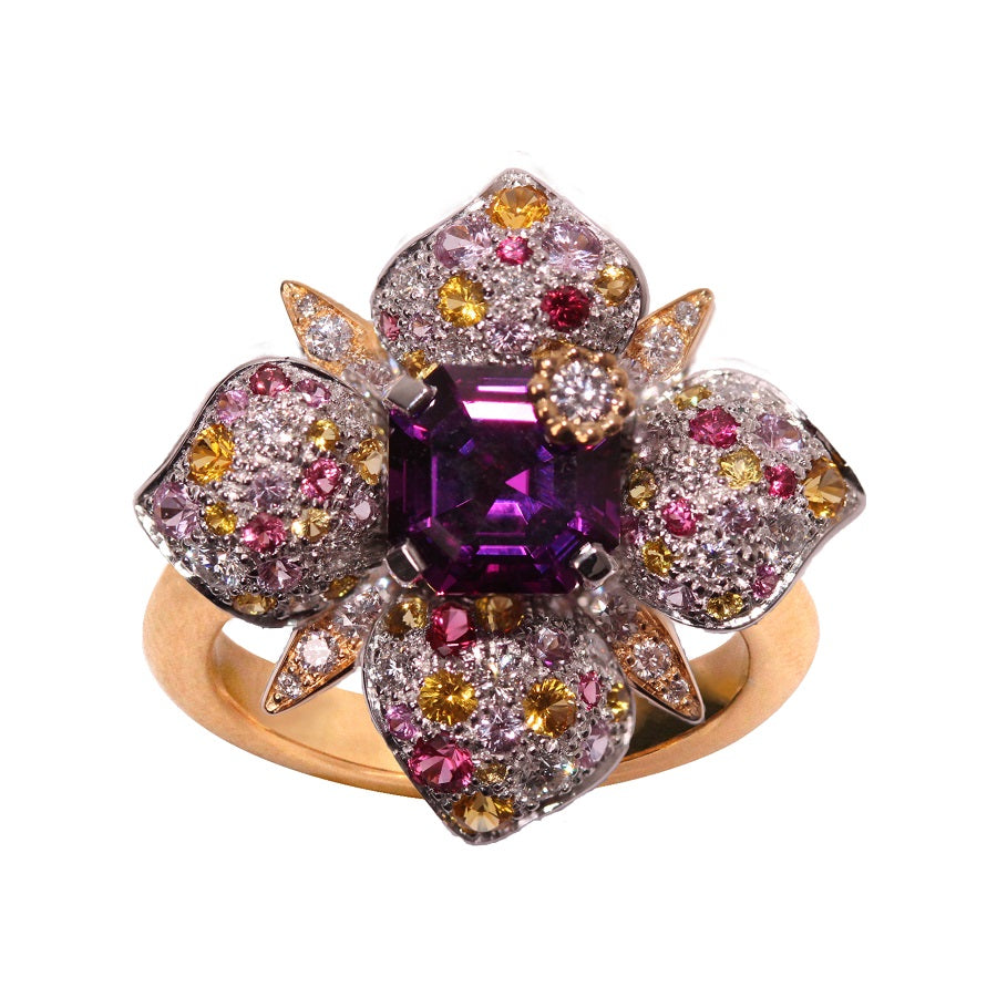 PARISETTE RING Center One Violet Rhodolite, Florilège Collection