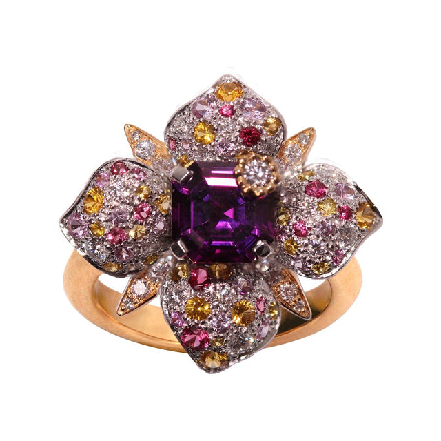 PARISETTE RING Center One Violet Rhodolite, ANTHOLOGY FLORILÈGE COLLECTION