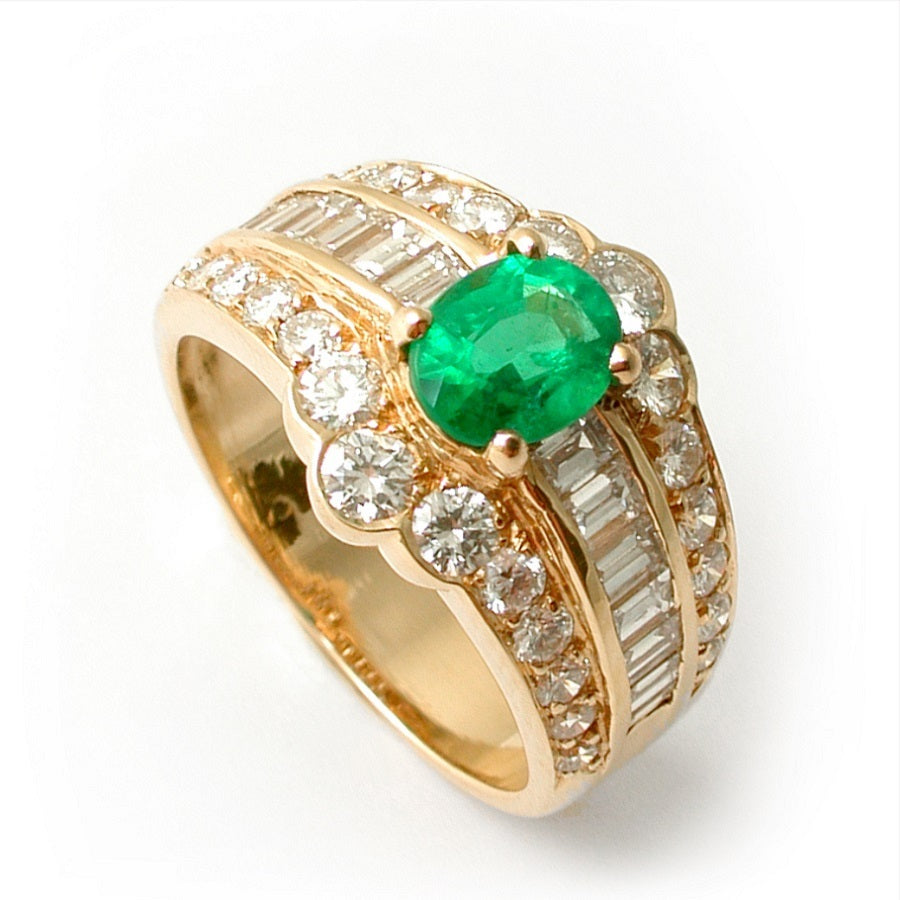 EMERALD DIAMOND RING CHAMBORD, VINTAGE COLLECTION - GERARDRIVERON