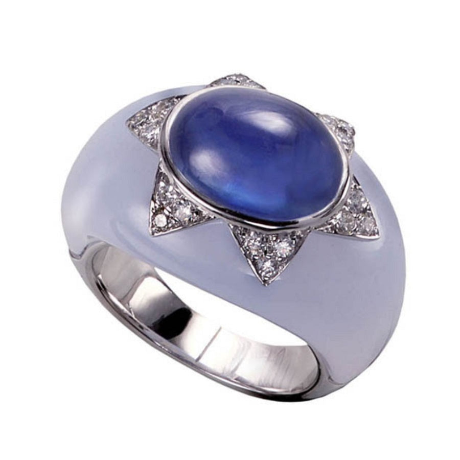 CHALCEDONY SAPPHIRES & DIAMONDS RING MELCHIOR, VINTAGE COLLECTION
