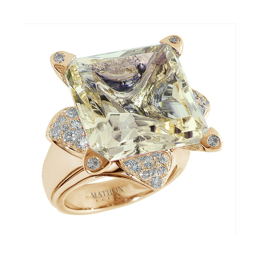 LOTUS RING GM YELLOW GOLD DIAMOND AND GREEN BERYL, ANTHOLOGY FLORILÈGE COLLECTION - GERARDRIVERON