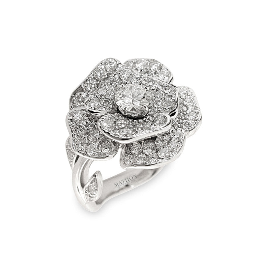 White Gold, Diamond and Center Diamond ROSE PAVAGE PM Ring