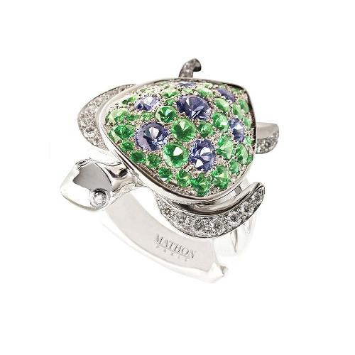 TORTUE REFLET WHITE GOLD TSAVORITES  RING, LUCKY ANIMALS COLLECTION