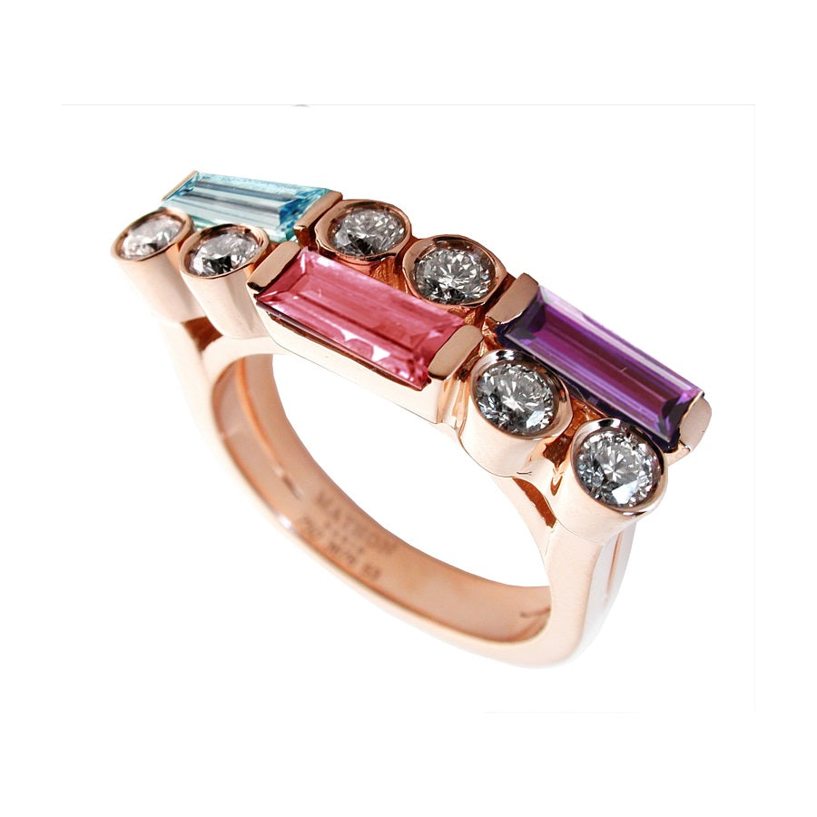 MANHATTAN RING PM ROSE GOLD DIAMOND AQUAMARINE PINK TOURMALINE AMETHYST, MANHATTAN COLLECTION - GERARDRIVERON