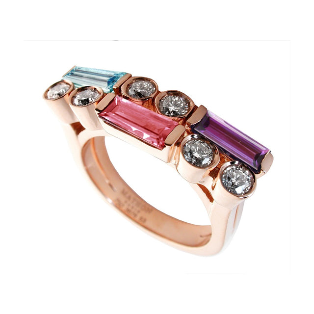 MANHATTAN RING PM ROSE GOLD DIAMOND AQUAMARINE PINK TOURMALINE AMETHYST, MANHATTAN COLLECTION