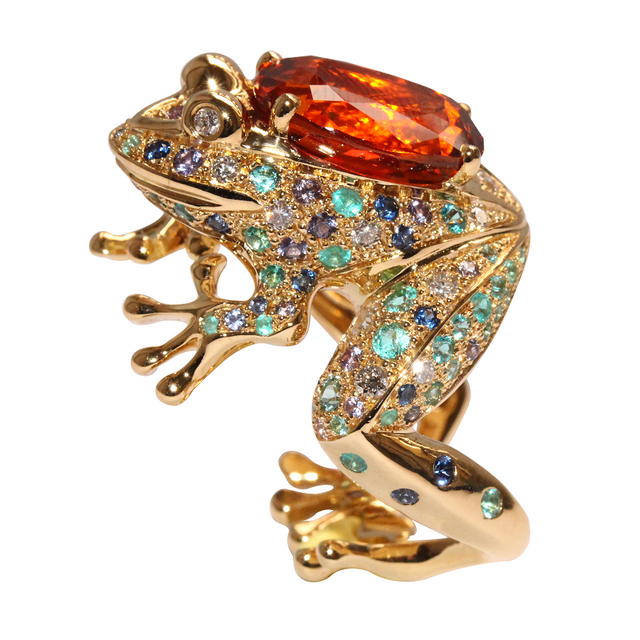 GRENOUILLE RING MANDARIN GARNET, LUCKY ANIMALS COLLECTION