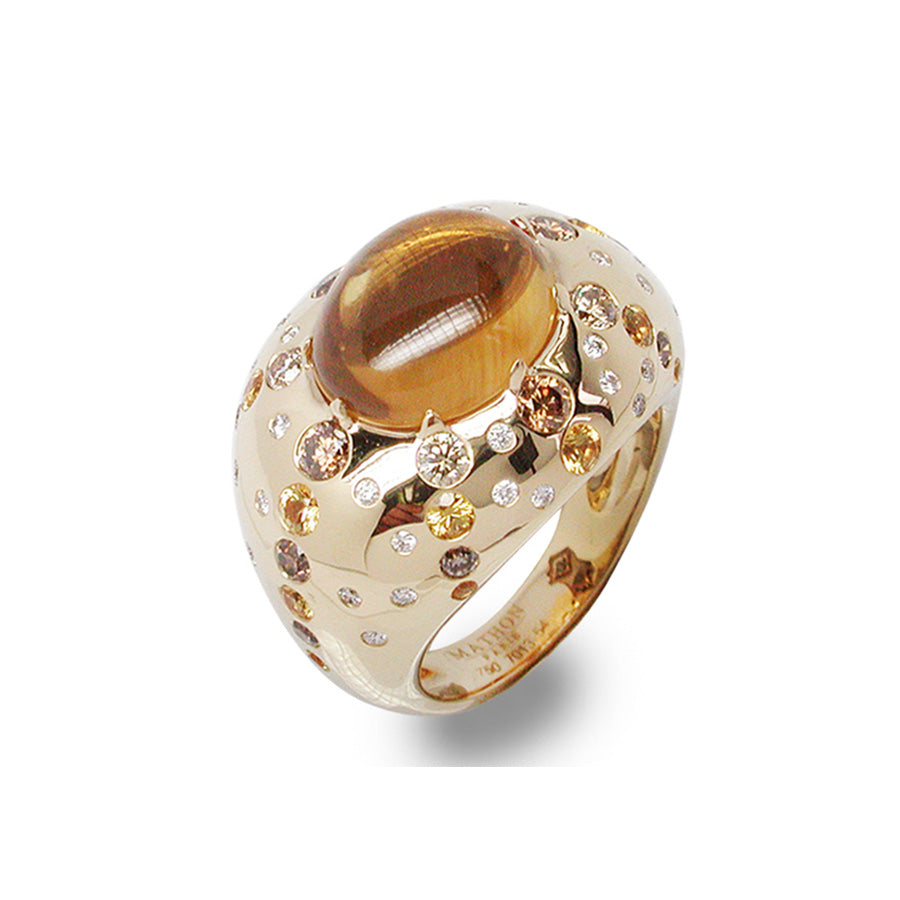 CIRCÉ RING CITRINE YELLOW SAPPHIRE BROWN DIAMOND, MERVEILLES DE LA MER COLLECTION