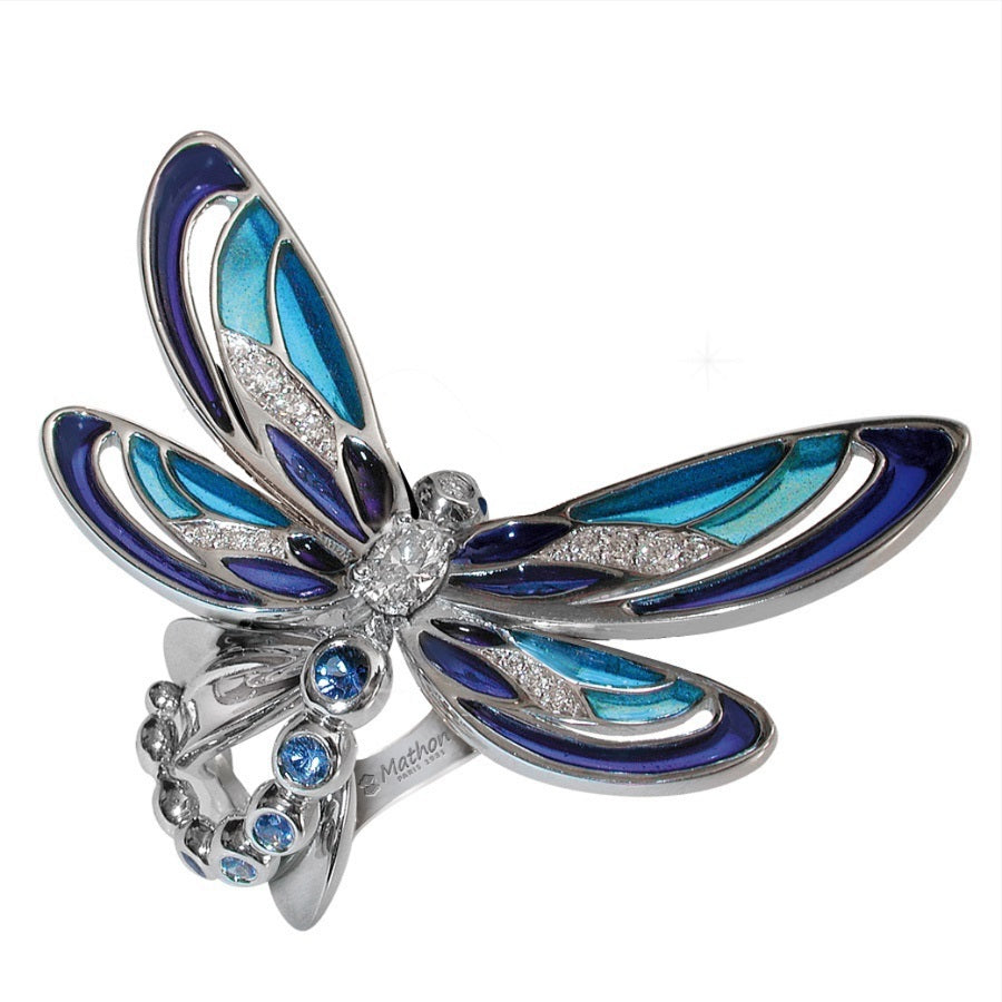 DEMOISELLE RING PLIQUÉ A JOUR WHITE GOLD DIAMOND SAPPHIRES, BESTIOLES COLLECTION - GERARDRIVERON
