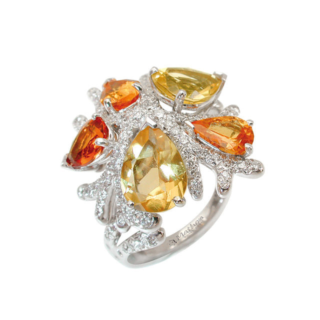 CORAIL RING GARNET CITRINE DIAMONDS, MERVEILLES DE LA MER COLLECTION