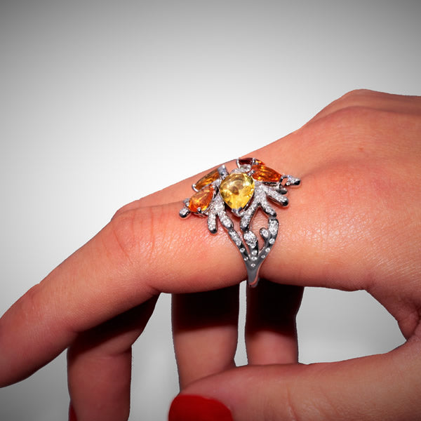 CORAIL RING GARNET CITRINE DIAMONDS, WONDERS OF THE SEA COLLECTION - GERARDRIVERON