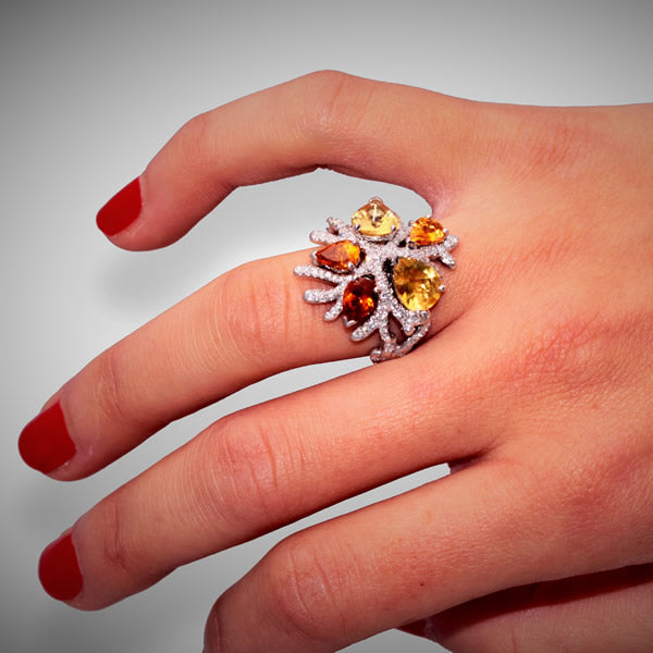 CORAIL RING GARNET CITRINE DIAMONDS, WONDERS OF THE SEA COLLECTION