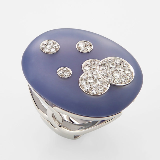 Cosmogony Collection Blue Chalcedony Diamond Ring