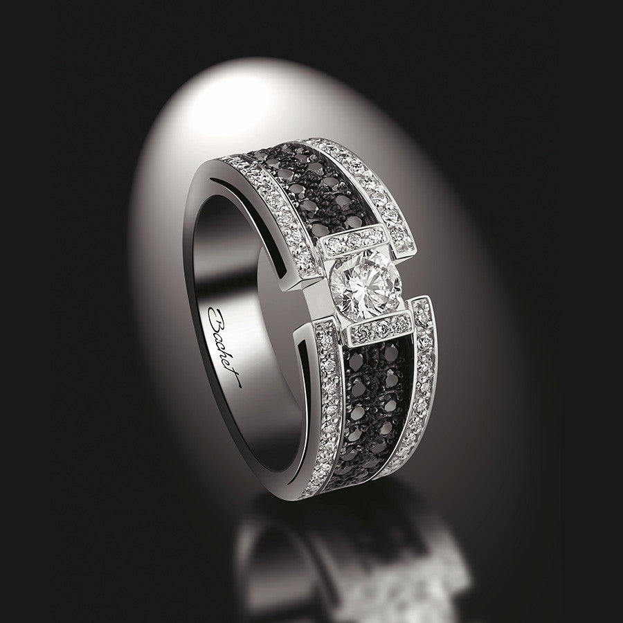 Women's Collection Engagement Ring 'BlackLight Sparkle', White Gold, Medium model - GERARDRIVERON